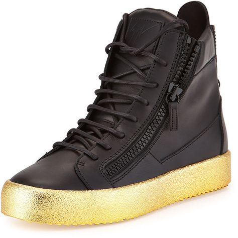 Giuseppe Zanotti Men s Leather High-Top Sneaker ( 605) ❤ liked on Polyvore  featuring men s fashion 0d3bdc58037