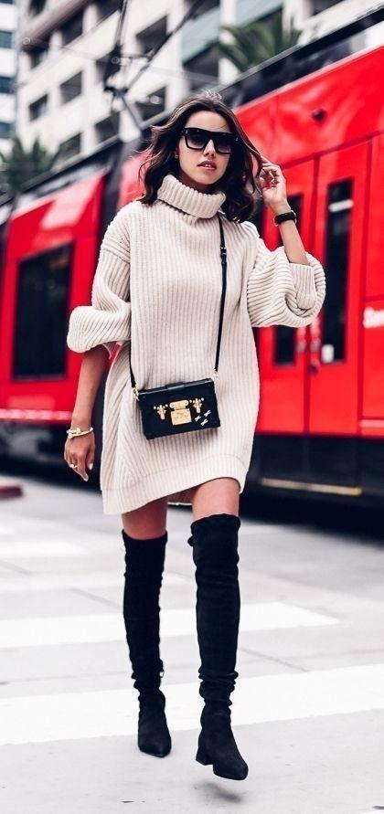 Knitted dress | Turtleneck | Overknee boots | Autumn