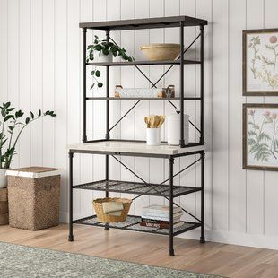 Gracie Oaks Magana Iron Baker S Rack Wayfair Wood Bookshelves