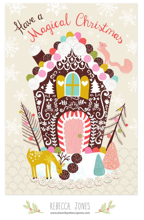 Assignment from Week 1 Lilla Roger's Make Art That Sells course Part B Christmas card using the theme of 'gingerbread houses'