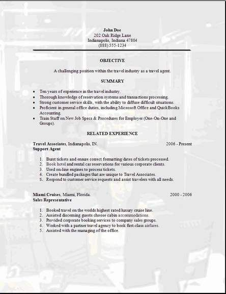 Travel Agent Resume Occupational Examples Samples Free Edit With Word Cover Letter For Resume Resume Examples Online Travel Agent
