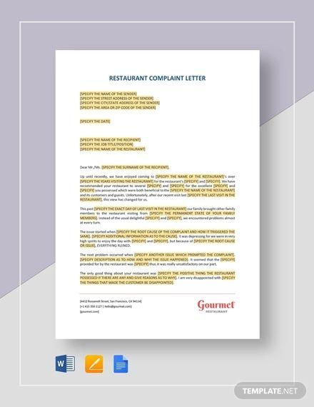 Restaurant Complaint Letter Template Free Pdf Google Docs Word Template Net Business Letter Example Business Letter Template Letter Templates