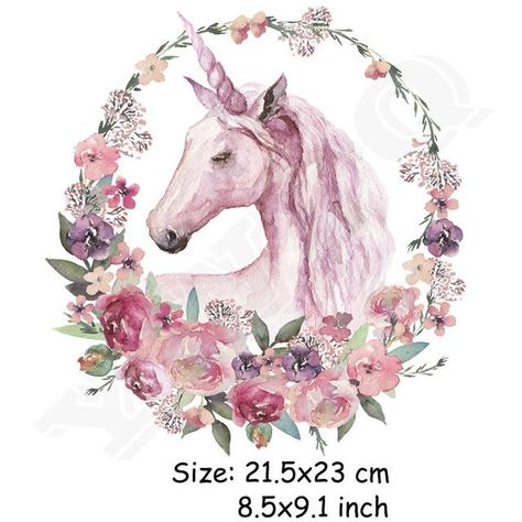 Washable Watercolor Floral Unicorn Iron-On Patch