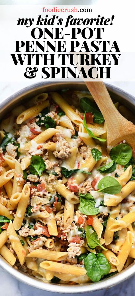 My kids favorite! One-pot penne pasta with turkey & spinach looking for an easy ground turkey recipe this one-pot pasta comes together in just minutes and is packed with good-for-you ingredients like spinach. D ground turkey! Healthy Turkey Recipes, Spinach Recipes, Chicken Recipes, Easy Penne Pasta Recipes, Easy Ground Turkey Recipes, Ground Turkey Recipe For Kids, Sausage Recipes, Recipes Using Pasta, Easy Healthy Pasta Recipes