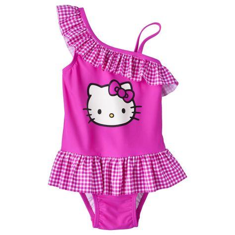 5f27db25f048f Hello Kitty Toddler Girls' Asymmetrical 1-Piece Swimsuit | malla3 ...