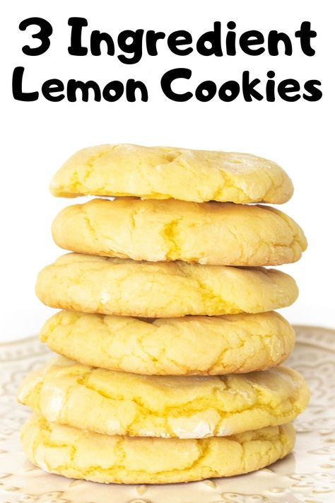 3 ingredient lemon cookies these soft and chewy lemon cookies are super easy to make with just 3 ingredients! cookies lemon cookierecipes cakemixcookies easycookies easydesserts lemondesserts moist and fluffy easy lemon cake recipe Lemon Cookies Easy, Lemon Cake Mix Cookies, Cake Mix Cookie Recipes, Lemon Cake Mixes, Sugar Cookies Recipe, Oreo Truffles Recipe, Cake Recipes, Easy To Make Cookies, Fondue Recipes
