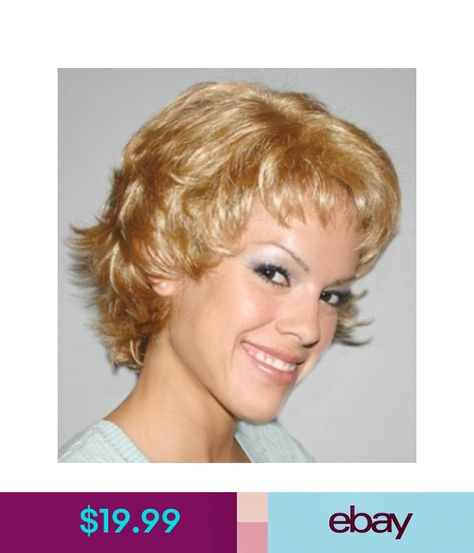 WINONA FLIP WOMAN LADY SHORT WAVY CURLS CURLY COSTUME WIG BLACK BROWN BLONDE