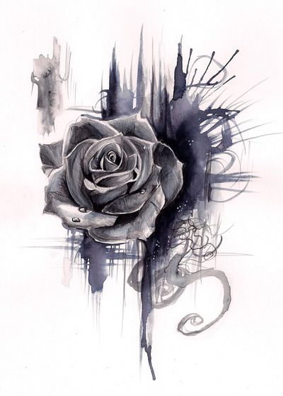 This would be a beautiful tat if done by a really good artist! Rose Drawing- Print by (print image)