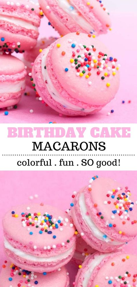 Learn how to make macarons! These birthday cake macarons are the perfect dessert for celebrations or for an anytime treat! They are pretty and pink and made with a birthday cake flavored filling and topped with sprinkles! Birthday Cake Flavors, Birthday Treats, Cake Birthday, French Macaroon Recipes, French Macaron Flavors, Macaroons Flavors, Macaron Filling, How To Make Macarons, Making Macarons