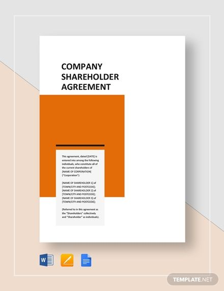Company Shareholders Agreement Templates Lettering Words