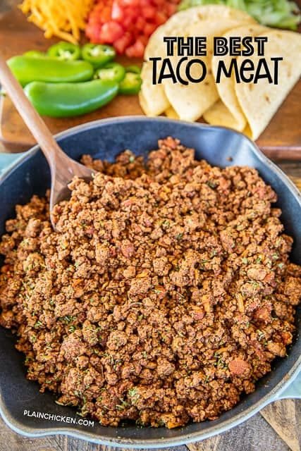 The Best Taco Meat Ground Beef Onion Garlic Chili Powder Salt Cumin Diced Tomatoes And Green Chiles Re In 2020 Taco Meat Taco Meat Seasoning Taco Meat Recipes