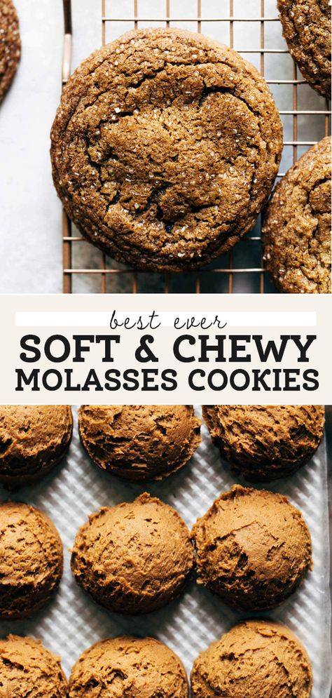 These soft molasses cookies are absolutely PERFECT. They have a super soft inside, slightly chewy outside, and a sugar crust. Seriously, they are THE best. #molasses #molassescookies #gingerbreadcookies #softcookies #cookies #butternutbakery