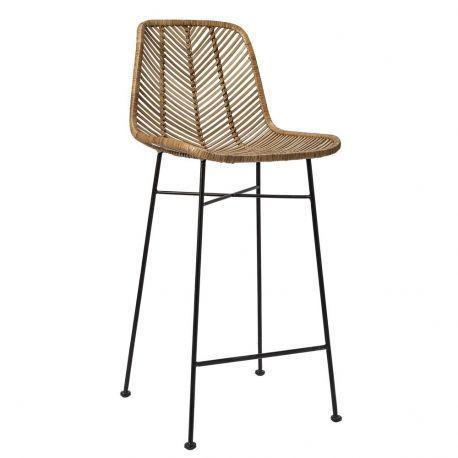 Chaise De Bar Avec Dossier En Rotin Design Bloomingvillle Chaise