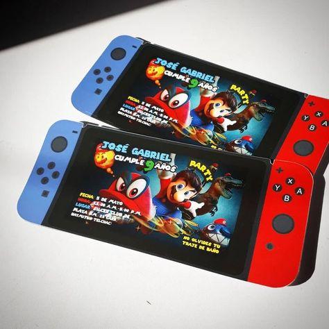 Invitaciones Mario Odyssey con forma de Nintendo Switch para mi clientito más e