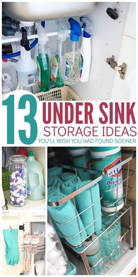 Make the most of your cabinet space with these under sink storage ideas youll WISH you had found sooner. So clever! Make the most of your cabinet space with these under sink storage ideas youll WISH you had found sooner. So clever! Small Kitchen Organization, Diy Kitchen Storage, Bathroom Organization, Storage Cabinets, Diy Storage, Storage Organization, Organizing Kitchen Cabinets, Diy Cabinet Door Storage, Cleaning Supply Organization