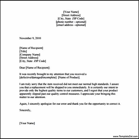 Apology Letter Customer For Damaged Goods Templatezet Behavior   Example Of  An Apology Letter  Example Of A Apology Letter