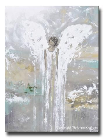 Giclee Print Abstract Angel Painting Blue White Guardian Angel Inspirational Art Spiritual Wall Art Giclee Print Abstract Angel Painting Angel Wall Art