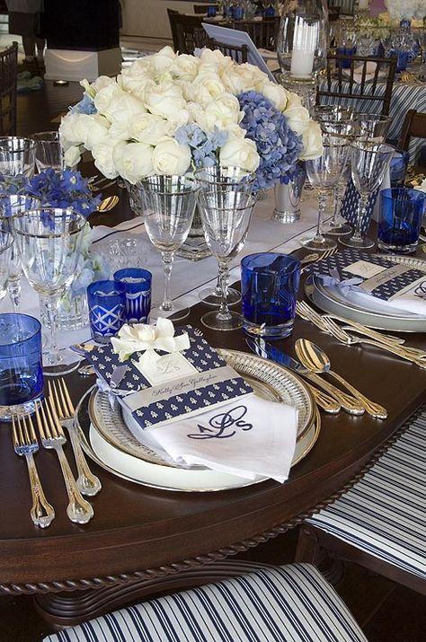 Pretty blue & white table setting.