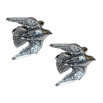 English Made Swooping Falcon Bird Pewter Cufflinks