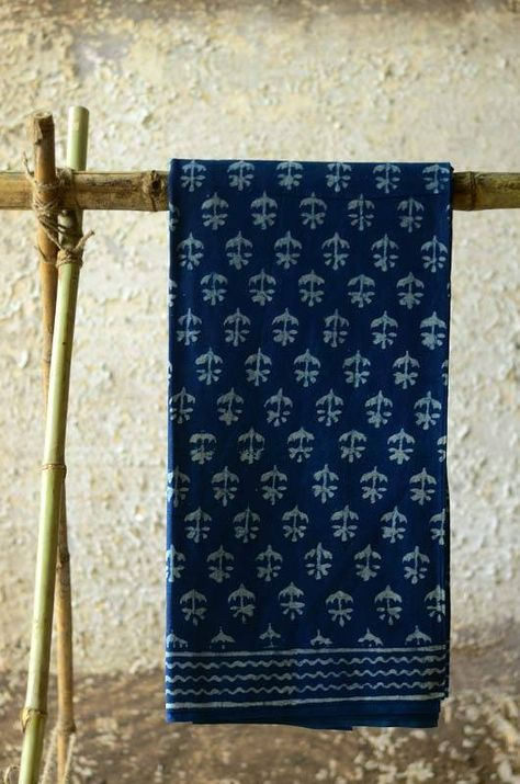Immersed in the patterns of ancient tribal India, the Indigo prints of these saris sit elegantly whether it is a festive gathering or just another day to office. The softness of cotton and natural colors against skin allows possibilities of daily use and it only gets better with ever wash. #indigo #blockprint #dabu #handmade #indian # motifs #natural Buy at : http://shop.gaatha.com/