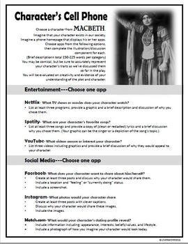 Macbeth Characterization Cell Phone Activity Fun And Creative Macbeth Lessons Macbeth Teaching Inspiration
