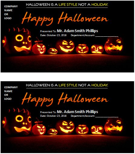 Halloween Best Costume Award Certificate at wordexceltemplates - how to create a gift certificate in word