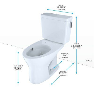 Toto Drake Dual Flush Elongated Two Piece Toilet With High