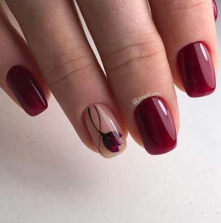 58 Elegant Maroon Nail Design Ideas With Images Maroon Nail Designs Maroon Acrylic Nails Burgundy Nails