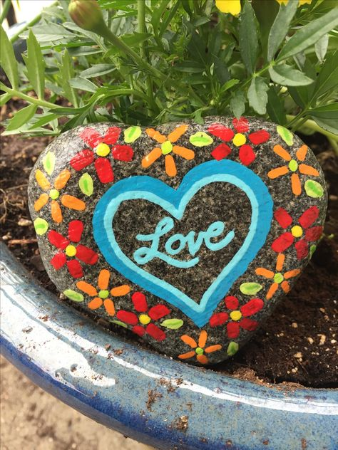Hand Painted Heart StonesRocks