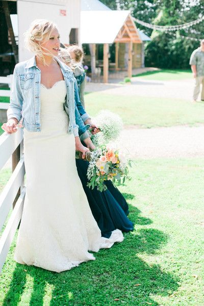 Rustic casual-chic summer wedding dress idea - fitted lace fit-and-flare wedding dress with strapless, sweetheart neckline with denim jacket {Eileen K. Photography}