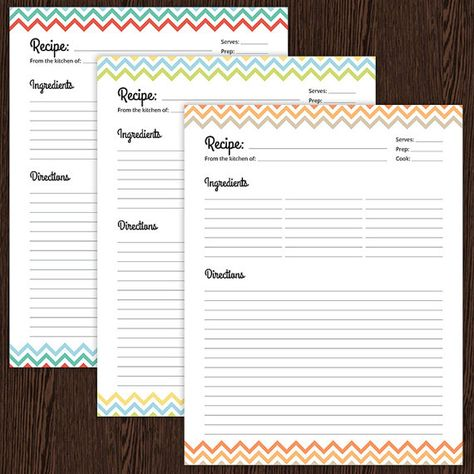 Recipe Card Full Page Colourful Chevron Fillable Printable