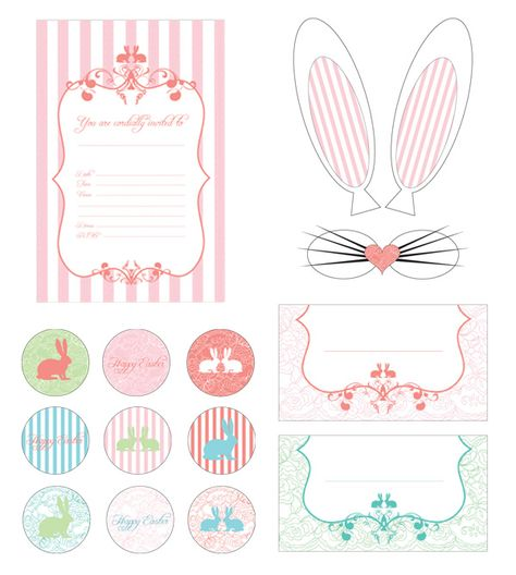 Easter printables, ideas and projects #easter #printables. Bunny ears and nose for photo booth props.