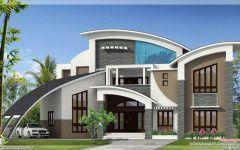 South Indian House Front Elevation With House With Balcony Around And Modern Metal Entrance Doors Desain Rumah Denah Rumah Arsitektur Rumah