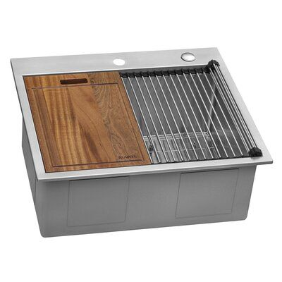 Ruvati Siena 25 L X 22 W Drop In Kitchen Sink With Basket Strainer Drop In Kitchen Sink Kitchen Sink Sink