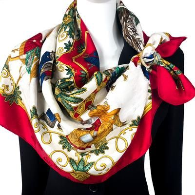 Joies D Hiver Hermes Silk Scarf 100 Silk Jacquard White With Red Border Beautiful Scarfs Hermes Scarf Scarf