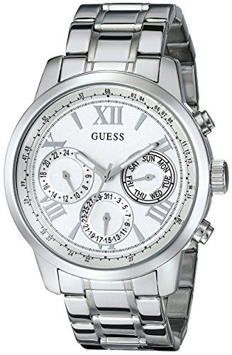 Buy GUESS Women's Sporty Silver-Tone Stainless Steel Watch with Multi-function Dial and Pilot Buckle: Shop top fashion brands Wrist Watches at ✓ FREE DELIVERY and Returns possible on eligible purchases