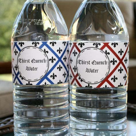 Fleur-de-lis Birthday Party water bottle wrapper print by A Party Studio on Etsy, only $7.00