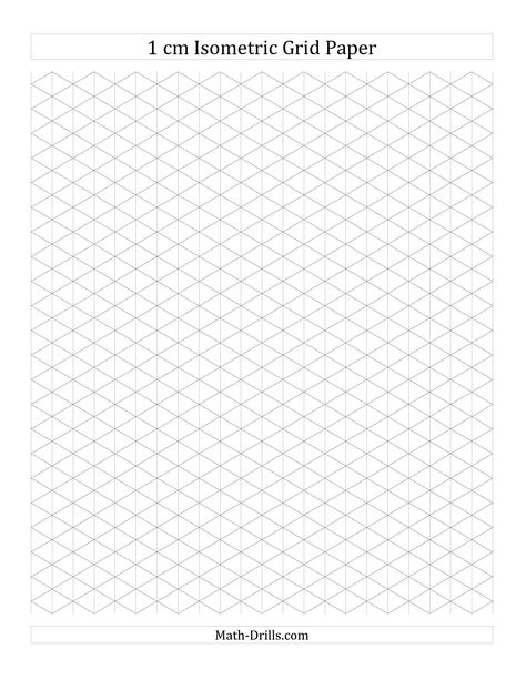 1 cm Isometric Grid Paper (Landscape) (A) Math Worksheet #freemath