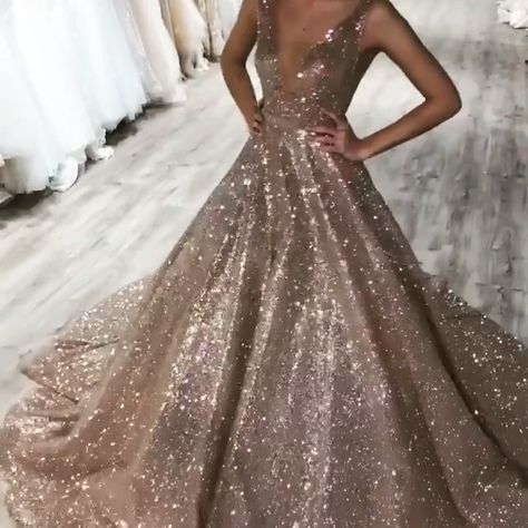 Plunge V-neck Ball Gowns Prom Sequins Dresses -   - #ball #CasualOutfits #dresses #ElieSaab #gowns #HauteCouture #plunge #Prom #ReadyToWear #sequins #VNeck