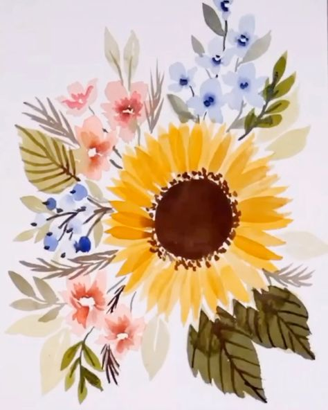 LIVE How to paint a Loose Watercolor #Sunflower Bouquet - YouTube