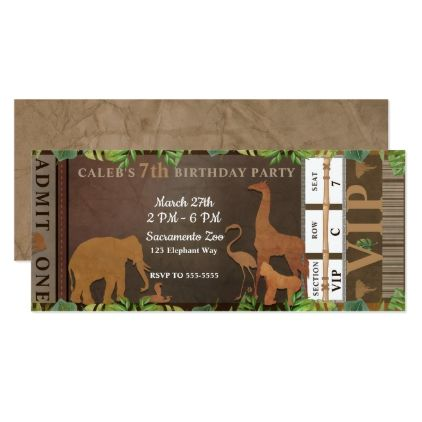 Safari Jungle Brown Animals Birthday Party Ticket Invitation Zazzle Com With Images Baby Shower Ticket Invitations Animal Birthday Party Baby Shower Tickets