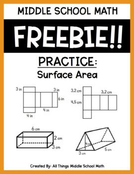 I Used This As A Classwork Worksheet For The Students To Show Their Understanding Of How To Find The Middle School Math Free Middle School Math Area Worksheets Surface area of prism worksheets