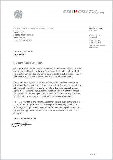Cdu Csu Corporate Design Geschäftsausstattung Briefbogen