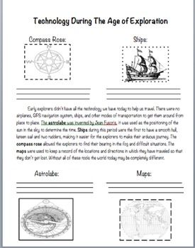 Technology During The Age Of Exploration Social Studies Worksheets 6th Grade Social Studies 7th Grade Social Studies