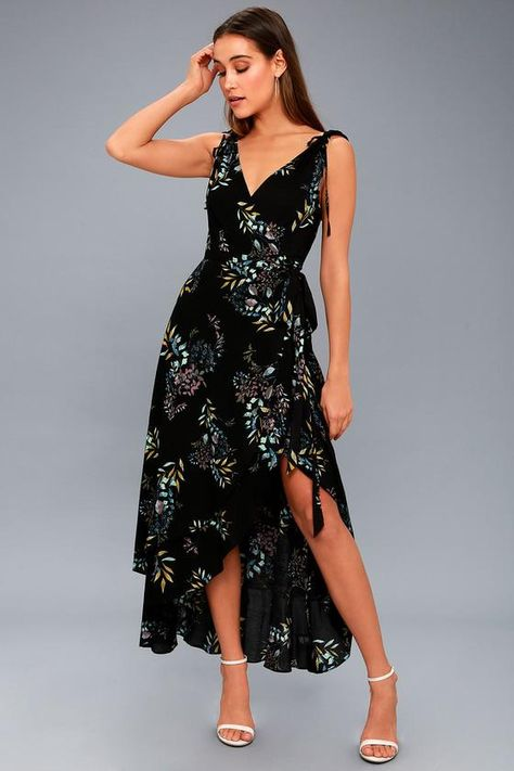 5044879c4ec Wild Winds Black Floral Print High-Low Wrap Dress 2