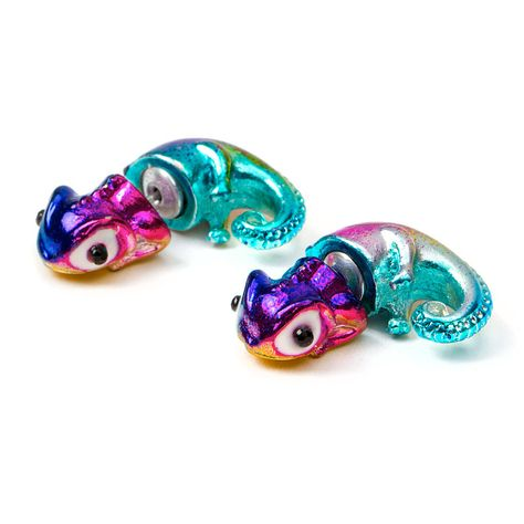 Rainbow Metallic Chameleon Front and Back Earrings
