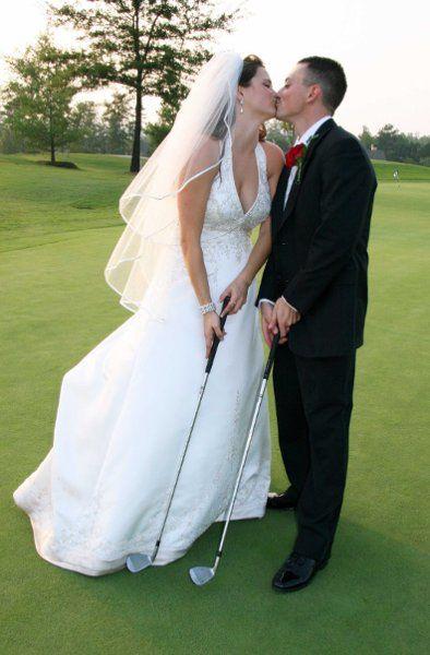 Wedding pose with a golf club