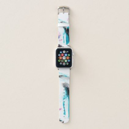 Modern Painted Pink Turquoise Black Brushstrokes Apple Watch Band