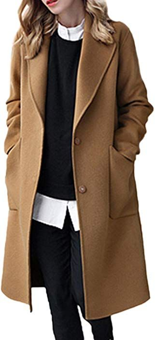 FashionRun Womens Solid Colored Hooded Trench Denim Long Trench Coat