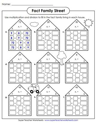 Number Families Worksheets Family Worksheet Fact Families Fact Family Worksheet
